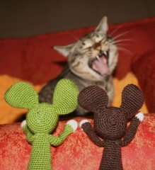 souris, chat, crochet, animal, peur, laine