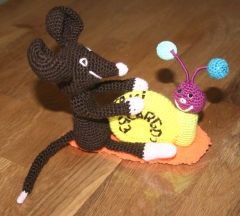 escargot, souris, taxi, transport, crochet, laine
